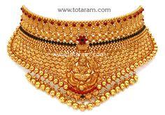 22K Gold 'Lakshmi' Choker (Temple Jewellery)