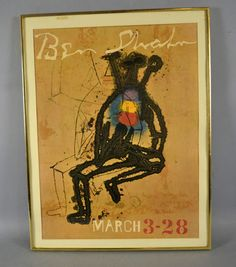 BEN SHAHN EXHIBITION POSTER - Set under glass in modern frame; Measures: Frame 30''H x 23''W - Condition: Age appropriate wear; All items sold as is.