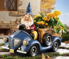 Amazon.com: Gnome In Vintage Truck Garden Planter By Collections Etc: Patio, Lawn & Garden