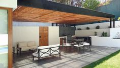 Pergola Attached To House Plans Key: 4341734874 Indoor Outdoor Living, Outdoor Areas, Outdoor Rooms, Outdoor Structures, Outdoor Decor, Pergola Swing, Pergola Kits, Cheap Pergola, Patio Roof