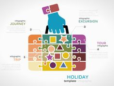 Holiday concept infographic template with stamped suitcase made out of puzzle pieces Stock Vector Explore Travel, Puzzle Pieces, Infographic Templates, Royalty Free Images, Making Out, Travel Photos, Suitcase, Clip Art, Stamp