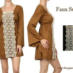 Cute and Stylish Dress with Faux Suede at www.lifoapparelusa.com
