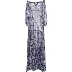 Luisa Beccaria     Off-The-Shoulder Floral Printed Dress (5.825 BRL) ❤ liked on Polyvore featuring dresses, long dresses, luisa beccaria, blue, off shoulder long dress, blue long sleeve dress, long sleeve off the shoulder dress, blue long dress and off-shoulder dresses