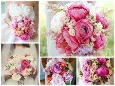 Свадебный букет с пионами и розами