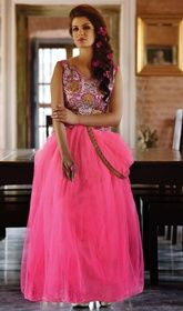 Pink Net Embroidered Evening Wear Gown  #indiangowns #indanbridalgowns An outstanding pink net embroidered evening wear gown will make you look too stylish and graceful. The charming lace, resham and stones work a vital attribute of this attire.  USD $ 108 (Around £ 75 & Euro 82)