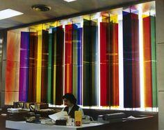Transchromie: 1970 - 1979: 1973  Transcromía Mecánica Aleatoria  Banco Nacional de Descuento, Caracas, Venezuela Arq. Francisco Pimentel, Bernardo Borges  15 columnas. Dim. 3,65 x 5,50 x 0,85 m (11 31/32 x 18 1/32 x 2 25/32 ft) - CARLOS CRUZ DIEZ