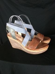 f0ff5d507d9f Pikolinos Wedge Platform Sandal Sz 40 Shoes Worn Once Blue Stretch Straps  US 10  Pikolinos