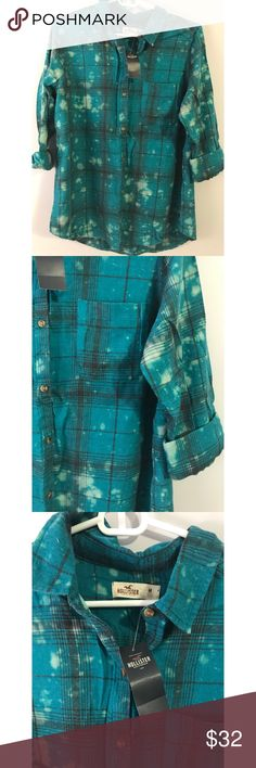 Hollister Distressed Oversized Flannel NWT Hollister Oversized Distressed flannel shirt Hollister Tops Button Down Shirts