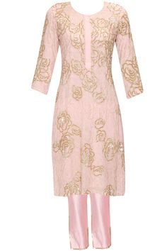 Pastel pink embroidered kurta with pants available only at Pernia's Pop Up…