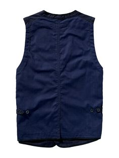 Worker vest made from indigo twill and canvas by Scotch & Soda.