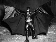 Behind the scenes shot of Michael Keaton, as Batman.