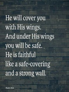 Psalm 91:4 (NLV) - He will cover you with His wings. And under His wings you will be safe. He is faithful like a safe-covering and a strong wall.