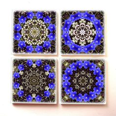 Coasters set of 4 Blue and white floral mandala by RVJamesDesigns, $29.95