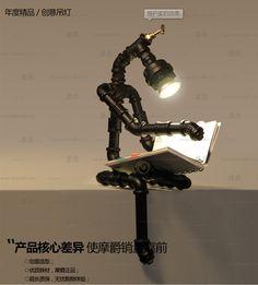 Mount Jazz Bar Cafe Retro лофт промышленные трубы творческой личности настольные лампы, кованые лампы -tmall.com робот Lynx