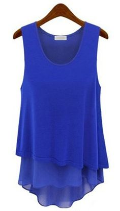 Blue Sleeveless Ruffles Chiffon Tank Dress