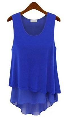 Blue Sleeveless Ruffles Chiffon Tank Dress