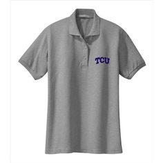 Texas Christian Horned Frogs NCAA Solid Arch Logo Grey Ladies Silk Touch Sport Polo (Large)