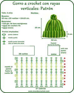 Gorro a crochet rayas verticales