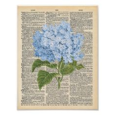 Vintage Dictionary Art Soft Blue Lilac Floral Poster - diy cyo customize create your own personalize