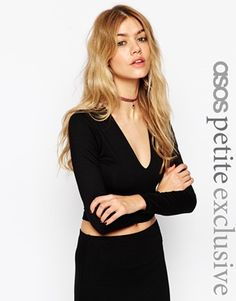 ASOS PETITE Crop Top With Super Plunge And Long Sleeves