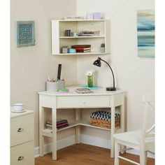 This convenient Corner hutch by Buylateral adds the extra space that you need in any work/study space. Fits directly into any corner, saving space. Made from MDF, this item is available in two colors. Small Corner Desk, Corner Desk With Hutch, Corner Vanity, Vanity Area, Desk Hutch, Vanity Desk, Corner Shelf, Office Furniture Stores, Furniture Deals