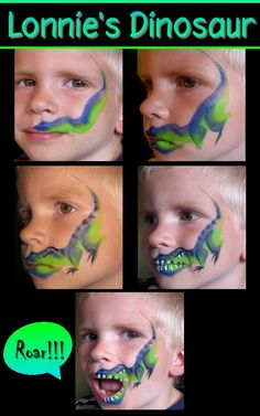 Painting of the face of the dinosaur. Maybe find s. Painting of the face of the dinosaur. Maybe find several options for children to choose from? Dinosaur Face Painting, Face Painting For Boys, Body Painting, How To Face Paint, Simple Face Painting, Face Painting Tutorials, Face Painting Designs, Paint Designs, Boy Face