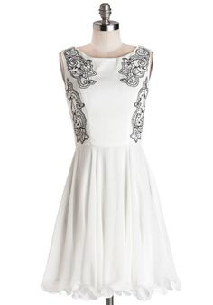 Fancy Prance Dress - Woven, Mid-length, Chiffon, White, Black, Embroidery, Party, A-line, Sleeveless, Better, Rhinestones, Ruffles