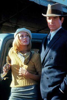 """BONNIE AND CLYDE - Faye Dunaway as 'Bonnie Parker' & Warren Beatty as 'Clyde Barrow' on location in Texas - """"We rob banks!"""" - Produced by Warren Beatty - Directed by Arthur Penn - Warner Bros. Bonnie Parker, Bonnie Clyde, Bonnie And Clyde Movie, Warren Beatty, Costume Halloween, Bonnie And Clyde Halloween Costume, Danny Zuko, Mia Wallace, Batman Et Catwoman"""