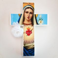 Sacred heart Mary cross hand made by Lartte https://www.etsy.com/au/listing/190303161/sacred-heart-mary-home-decor-wall-cross