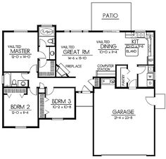 Ranch Style House Plans - 1437 Square Foot Home , 1 Story, 3 Bedroom and 2 Bath, 2 Garage Stalls by Monster House Plans - Plan House Plans One Story, New House Plans, Dream House Plans, Small House Plans, House Floor Plans, 2 Bedroom House Plans, Bungalow House Plans, Ranch House Plans, The Plan