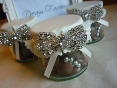 Beautiful Vintage Style Diamante Bow Brooch by dreamfavours, cute wedding favors. can make out of mason jars? Diy Wedding Favors, Wedding Decorations, Wedding Ideas, Party Favours, Sparkly Mason Jars, Favour Jars, Samantha Wedding, Sweet Jars, Small Glass Jars