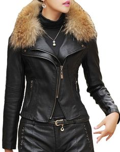 Shop a great selection of Helan Women's PU Leather Short Motocycle Sports Jacket Real Raccoon Fur Collar. Find new offer and Similar products for Helan Women's PU Leather Short Motocycle Sports Jacket Real Raccoon Fur Collar. Coats For Women, Jackets For Women, Clothes For Women, Leather Shorts, Pu Leather, Versace Jacket, Cute Coats, Faux Fur Collar, Sports Jacket