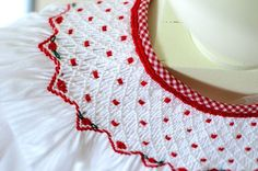 Love the red smocking on this white bishop. I would probably change the neck binding to white like the dress. Smocking Plates, Smocking Patterns, Smocked Baby Clothes, Smocked Clothing, Smocked Dresses, Smocking Tutorial, Smocks, Crochet Quilt, Christmas Sewing