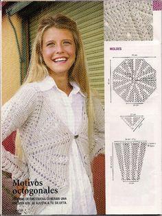 Crochet Jacket, Crochet Cardigan, Crochet Saco, Projects To Try, Blouse, Jackets, Cardigans, Fashion, Crochet Handles