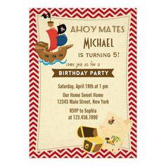 Rustic Pirate Ship Birthday Invitation Red