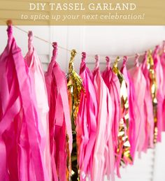 DIY tassel garland made with tissue paper mylar or fabric are an easy and versatile way to add decor to any room or occasion. Step by step photos.