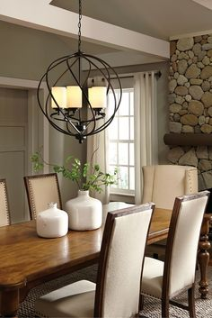 The Transitional Goliad Lighting Collection By Sea Gull Has A Sophisticated Style Combining Divergent Design Dining Room