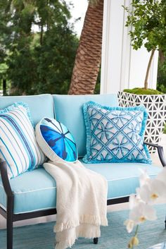 The perfect garden party. That's what Grayson calls to mind. Coastal Living, Coastal Decor, Beyond The Sea, Patio Gazebo, Elegant Homes, Beautiful Space, Fabric Covered, Seat Cushions, Outdoor Living
