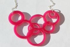 Hot Pink Bubbles Circle Necklace Pink Perspex Acrylic on Sterling Silver Chain By Tara Mac Jewellery on Etsy www.etsy.com/shop/taramacjewellery  #lasercut #lasercutjewellery #lasercutnecklace #statementnecklace #pinknecklace #circlenecklace #bubble #etsy #taramacjewellery