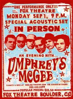 Original concert poster for Umphrey's McGee at the Boulder Theatre in Boulder, CO. 18