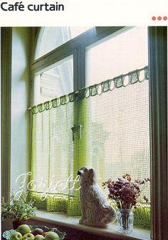 Cafe Curtain Lacy Filet Crochet Pattern | eBay  like the tabs