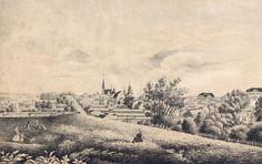 J.G. Hedmanin laveeraama näkymä valleilta Vanhan Vaasan keskustaan ja Hovioikeudentalolle. Kuva Pohjanmaan museo.
