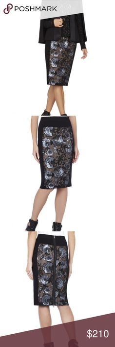 Bcbg sequin skirt Black and gunmetal sequin skirts with floral lace design. It has an elastic waist and zips up the back so you can adjust how high you want the back slit. NWT I have the matching top too BCBGMaxAzria Skirts Pencil