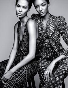 Joan Smalls & Jourdan Dunn by Patrick Demarchelier for W Magazine February 2014