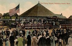 The Flying Horses, Salisbury Beach, Massachusetts, ca. 1914. Installed by Charles I. D. Looff at Coney Island from 1890-1905, the hand-carved carousel operated here from 1914-1976. It was moved to Seaport Village, San Diego, California in 1980.