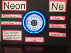 Neon element Neon Periodic Table, Periodic Table Project, Chemistry Projects, School Science Projects, Neon Science, Science Experiments, Project Neon, Project Ideas, Neon Atom Model