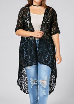 7cb5551d464 Women Plus Size Solid Lace Floral Cardigan Sexy Half Sleeve Blouse 2017  Fashion Ladies Tops Top Blouses Tees Autumn Oversize. plusinlove