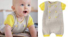 Une combinaison courte tricotée pour bébéLes couleurs fluo tendance s'invitent dans la layette. Les tout-petits vont adorer cette combinaison grise à manches jaune citron.Elle est réalisée en jersey et côtes 1/1.
