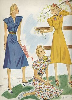Three delightfully lovely warm weather day dresses from 1938. #vintage #1930s #fashion #clothing #dress #summer