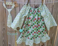 Christmas Brother and Sister Matching Outfits - Boutique Peasant Dress & Little Boy Necktie - Joy in Mint on Etsy, $44.00